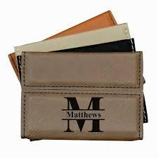 custom leather business card case holder engraved office gift for men women