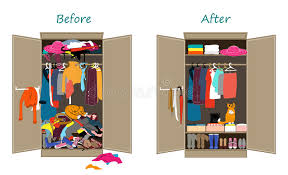 wardrobe clipart. Simple Wardrobe Before Untidy And After Tidy Wardrobe Clipart C