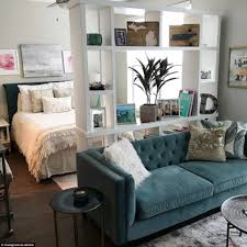 studio living room furniture. While Xo.deidre\u0027s Decor Is Neutral A Teal Velvet Sofa With Furry White Cushion On Next To Grey Textured Rug Takes Her Space From Plain Enviable Studio Living Room Furniture