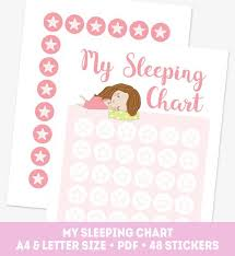 Pink Girl Sleeping Chart Toddler Night Reward Chart Printable Good Night Chart 48 Reward Star Stickers Kids Sleep Star Chart