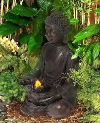 Meditating Aged Bronze Buddha Led Indooroutdoor Fountain M5794