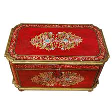 rare hand painted mango wood storage trunk coffee table