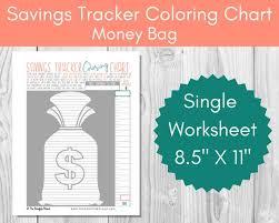 Savings Tracker Coloring Chart Moneybag Debt Free Charts Savings Thermometer Printable Savings Goal Tracker Budget Planner Money Plan