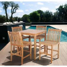 ia eden teak 5 piece patio bar set