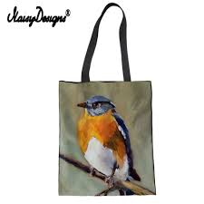 Fabric Painting Designs Of Birds Us 8 05 38 Off Bird Painting Printed Black Canvas Shopping Bag Reusable Fabric Bags Bag Eco Daily Use Foldable Handbag Plaid Dropship In Shopping