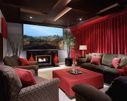contemporary home theater with maifa red velvet window theater curtain d stone fireplace high