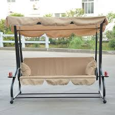 3 person outdoor patio canopy swing with cupholders beige in patio swing with gazebo top cover