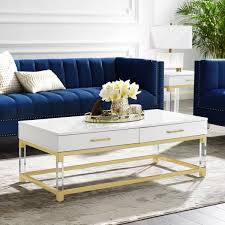 caspian white gold coffee table