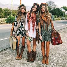 Modern hippie gypsies with boho chic scarves and cowboy boots. For the best  BOHEMIAN fashion style Htxpjazmin