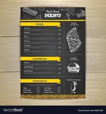 Design Fast Food Menu Vintage Fast Food Menu Design