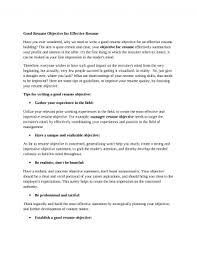Career Objectives For Resumes Good Resumehat Is The Objective