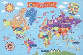 World Map Posters Kids Laminated World Map Nursery World Map Poster Kids