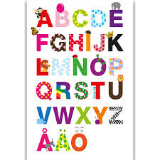 Alphabet Chart With Pictures Us 5 49 S316 Abc Alphabet Chart Kids Education English Language Wall Art Painting Print On Silk Canvas Poster Home Decoration In Painting