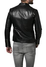home men s apparel men s fitted black leather jacket with zipper pockets