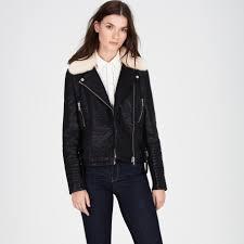 warehouse faux fur collar biker jacket black 1
