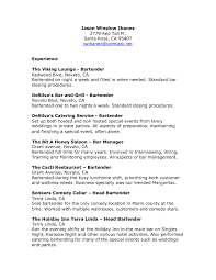 Gallery Of Bartender Resume Example Template Resume Builder