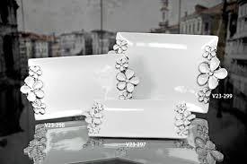 Verdici Design Bombonieres Verdici White Plate With Silver Floral Design