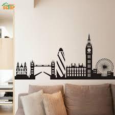 city building london skyline silhouette wall stickers for living room big ben landmark vinyl wall art