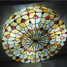 inch stained glass flush mount european