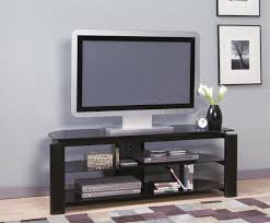 black glass  metal modern tv stand wstorage shelves