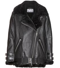 acne velocite shearling lined leather jacket