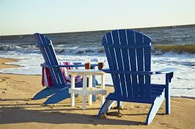 adirondack chairs on beach. Amish Poly Adirondack Chairs And Table Set On Beach A