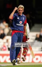 Stuart Broad of England celebrates bowling out Austin Richards LBW... News  Photo - Getty Images