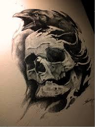 значение тату ворон с черепом Idei Tatuaje татуировки ворон
