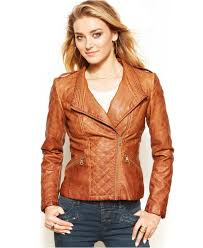 Guess Quilted Faux-Leather Moto Jacket in Brown   Lyst & Gallery Adamdwight.com