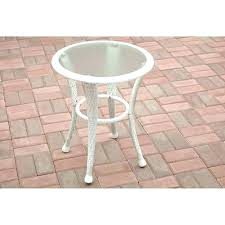 white wicker patio side table porch side table outdoor side table glass top wicker patio porch white wicker patio side table