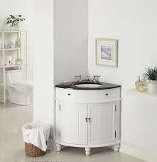 corner styled 42 inch vanity cabinet with nice wicker basket for
