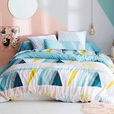 cotton geometric blue ochre soft duvet