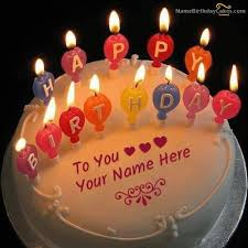 Awesome Candles Birthday Cake With Name
