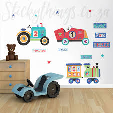 car train and tractor wall sticker in a playroom