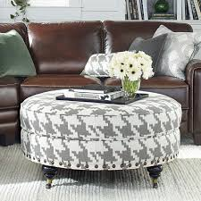 round fabric ottoman. Fine Ottoman Elegant Living Room Round Fabric Ottoman Coffee Table Leather Couch  Design Twist Legs Brass Casters White Bleached Jute Braided Rug  To R