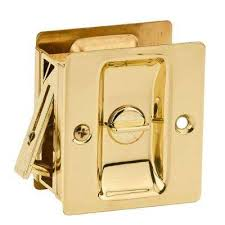 pocket door lock. notch polished brass bed/bath pocket door lock c