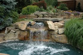Swimming Pool:Wonderful Swimming Pool With Outdoor Natural View Natural  Stone Waterfall Idea In Backyard