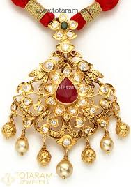 22k gold peacock pendant temple jewellery with fancy dori 235