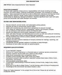 Sales Associate Qualifications Sales Associate Job Description Sample 10 Examples In
