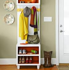 Wooden Coat And Shoe Rack Tall Coat Rack And Small Bench Plus Narrow Design Style Also Extra 31