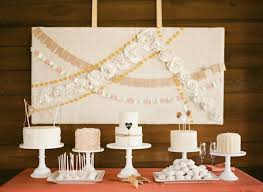 Paper Flower Garlands Dessert Table With Cakes And Paper Flower Garlands Photo By