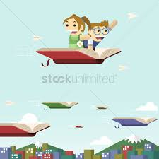 children flying on a book vector graphic