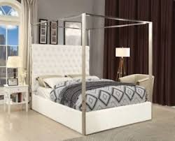 Details about King Size White Velvet Upholster Chrome Finish Canopy Bed Bedroom Furniture