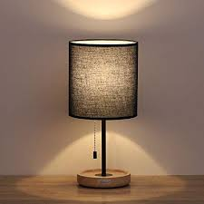 Image Table Lamps Haitral Wooden Table Lamps Black Minimalist Bedside Desk Lamp With Wood Base And Black Lamp Decorpad Bedroom Nightstand Lamps Amazoncom