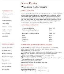 Warehouse Resume Templates Magnificent Warehouse Worker Resume 48 Free Sample Example Format Free
