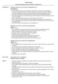 Senior Accountant Financial Reporting Resume Samples Velvet Jobs