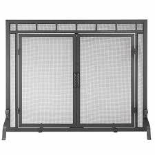 single panel fireplace screen with doors 44 w x 33 h
