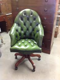 green leather office chair. Green Leather Button Back Swivel Chair Office C