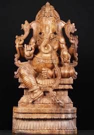 sold wood statue of the hindu ganesha 37