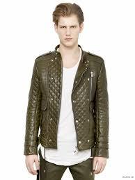 balmain khaki green cotton zipped biker hooded jacket